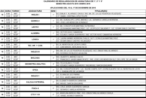 Calendario de regularización extraordinaria 2015